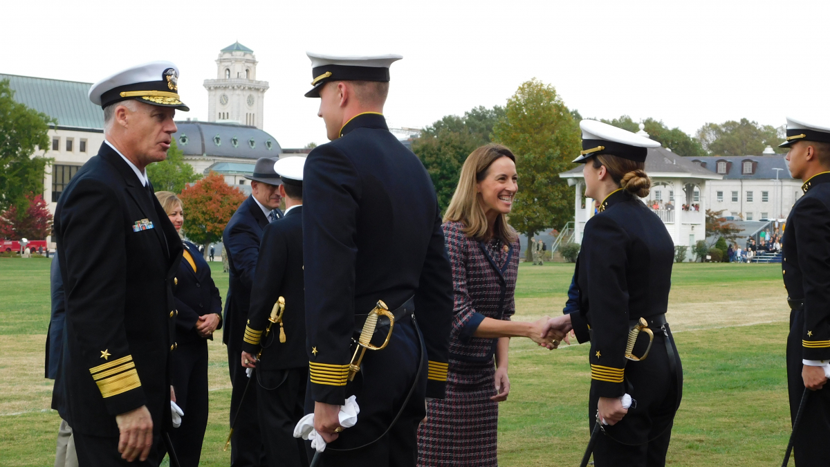 Rep. Sherrill Reviews Midshipmen at the U.S. Naval Academy, October 2019