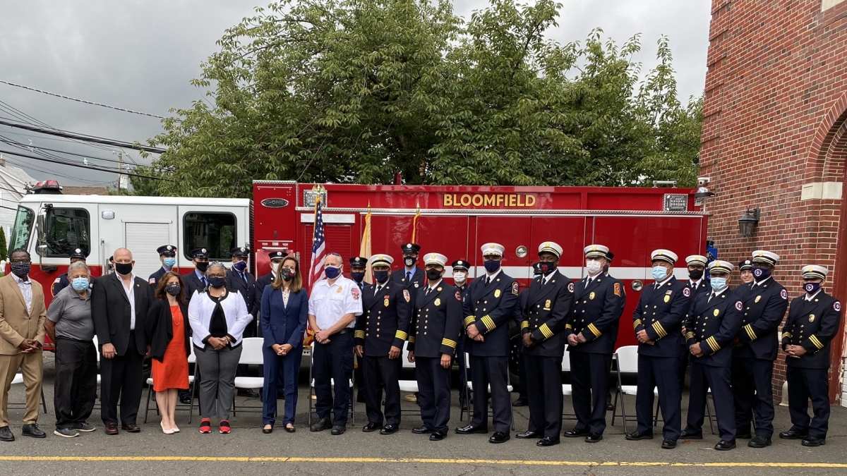Rep. Sherrill joins Essex County fire services members for a $600,000 AFG grant announcement.