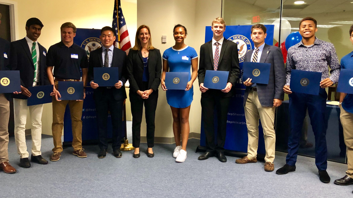 Representative Sherrill with NJ-11 students that were appointed and accepted offers to United States military service academies.