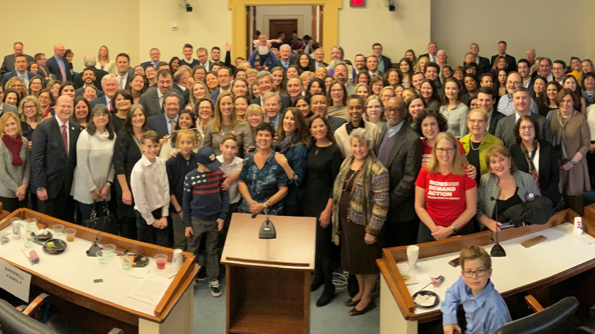 Sherrill gathers with 200 constituents at swearing-in reception in Rayburn Building.